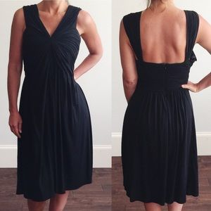 BCBGMaxAzria V Neck Midi Little Black Dress A224